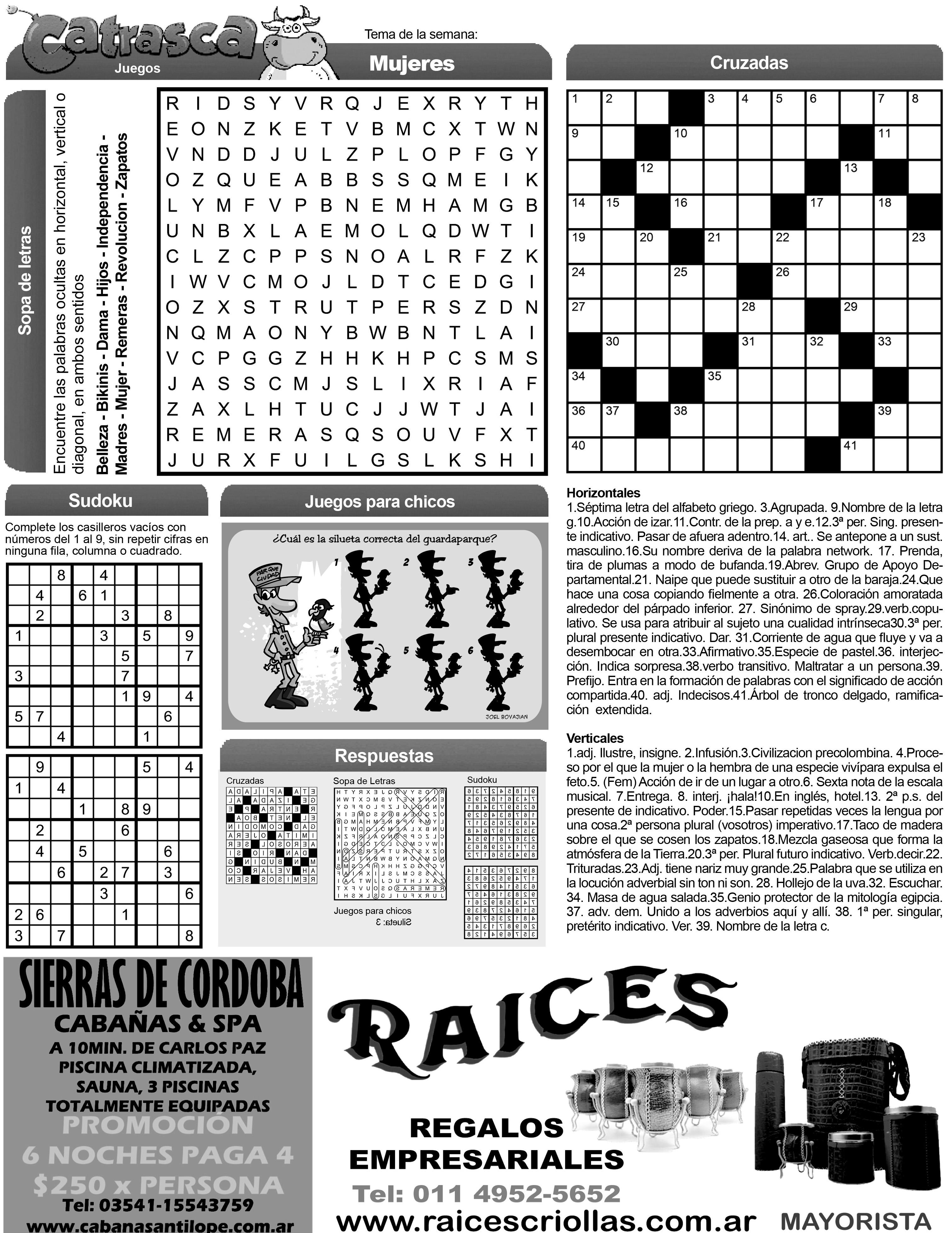 suplemento juegos catrasca sopa de letras cruzadas y ms